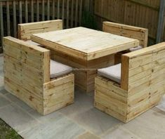 Here is another decent sitting arrangement. Here you can see four two seated pallets made sofas or benches, along with a robust center table. This is a whole lot of fun space for your friends and family. Who ever is going to be seated in here would definitely adore your effort for making this pallet furniture master piece.