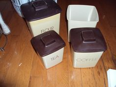 Vintage Set of 4 Plastic Nesting Canisters with Lids