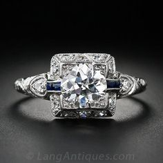 Has Sapphires for my Thomas :) LOVE THIS!!!! 1.00 Carat Art Deco Diamond Engagement Ring