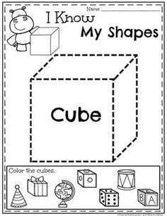 Looking for awesome shapes worksheets and games to use in your classroom? This and Shapes - Kindergarten Math Unit is filled with hands-on activities and no-prep worksheets to help children learn about and use shapes. Preschool Themes, Teaching Kindergarten, Preschool Worksheets, Preschool Learning, Math Activities, 3d Shapes Worksheets, Shapes Worksheet Kindergarten, Shapes For Kids, 1st Grade Math