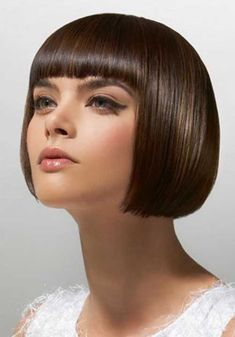 Adorable Short Hairstyle with Blunt Bangs