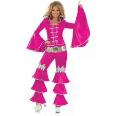 Disco Fever has hit again and we have the perfect costume for you to boogie the night away in. This groovy dancing queen is sure to get you noticed at any Fancy Dress Up, Mamma Mia, Bell Sleeve Top, Plus Size, Dance, Costumes, Lady, Pink, Outfits