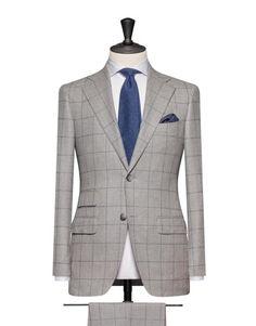 Light Grey Flannel With A Medium Blue Windowpane. Code 4677