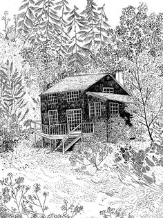 cottage in the woods by becca stadtlander | Illustration and Drawing. | Pinterest https://fr.pinterest.com/pin/118008452719333522/