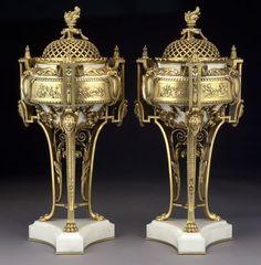 Pr. Barbedienne gilt bronze and marble potpourri.