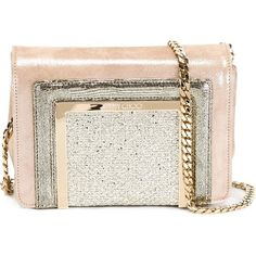 Jimmy Choo Ava Clutch ($870) ❤ liked on Polyvore featuring bags, handbags, clutches, suede handbags, white purse, jimmy choo purses, chain handle handbags and jimmy choo clutches