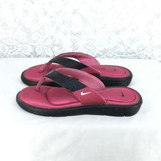 f06350779c41 A1 NIKE 6 W Womens Comfort Foot Bed Black Pink Memory Foam Flip Flop Thongs