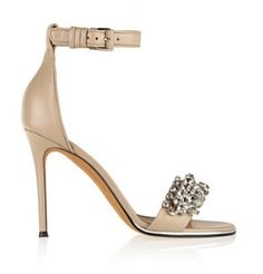Givenchy Embellished Crystals Strappy Nude Sandals