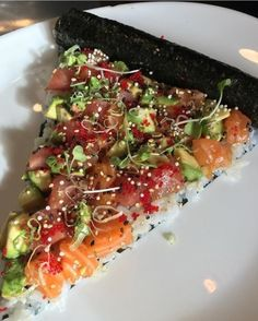 """40sandfabulousaf:  """" idreamofsushi:  """"Happy Pi π Day! Celebrate with…sushi pizza pie?  Photo by @exit4foodhall.  """"  More delicious and healthier than normal pies   """"  I like where your mind is at. It's for my """"health."""" I can roll with that."""