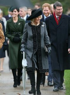 Catherine, Camilla, Harry & Sir Timothy Laurence, Anne's Husband. Attend The Christmas Day Church Service At Sandringham In King's Lynn. December 25, 2015.