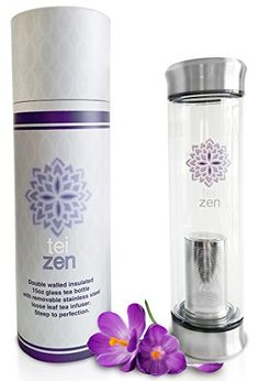 Tea Infuser Bottle- Double Walled Glass Tumbler with Loose Leaf Stainless Steel Strainer Basket by Teizen - Portable - 14 Ounce >>> Continue to the product at the image link.