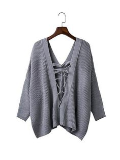 Gray V-neck Tie Back Long Sleeve Knit Jumper