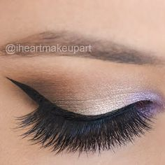 Neutral hues and a pop of lilac eye shadow are blended together for a stunning day to night look. Add a bit of liner and you're all set to go. Check out the products used here.