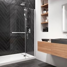 The black herringbone shower and design flooring adds a lot of maturity and chic to this Kalia bathroom, while the wood offers comfort and a little warmth. Herringbone Wall, 3d Studio, Bathtub, 3d Design, Digital Image, Plumbing, Black Shower, Flooring, Maturity