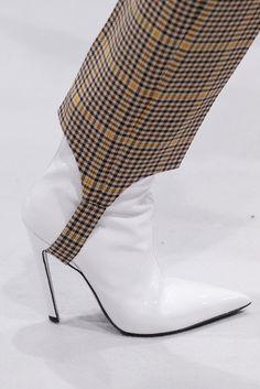 Balenciaga Fall/Winter '16. White shoes! Stirrup pants! Prince of Whales plaid!