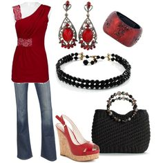 Red with black, created by danyellefl01 on Polyvore