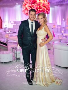 "Michael Buble & Luisana Lopilato ordered 275 pairs of Sallazzo Slippers to give to their guests to dance the night away in comfort. Ladies were provided with slippers for dancing and an organza bag for the shoe check. Each guest received a bottle of pink ""Luisana"" champagne or a bottle of ""Michael"" vodka."