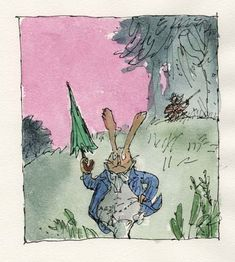 Beatrix Potter's tale of a black cat with a secret double life remained as an unillustrated text in the archive of her publisher for over 100 years. Quentin Blake was commissioned to illustrate the story in 2016, to commemorate the 150th anniversary of her birth - and in this picture depicts a very cross elderly rabbit in a blue coat; perhaps Peter Rabbit in late middle age. Quentin Blake Illustrations, Matilda Roald Dahl, Classic Poems, The Royal Collection, Late Middle Ages, The Grim, Watercolor Portraits, Children's Book Illustration, Original Artwork