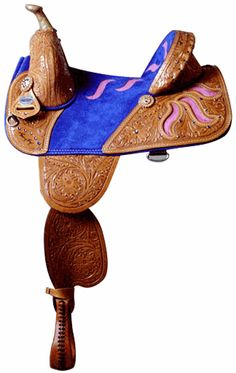 pretty blue barrel saddle with blue stripe across the middle of the saddle