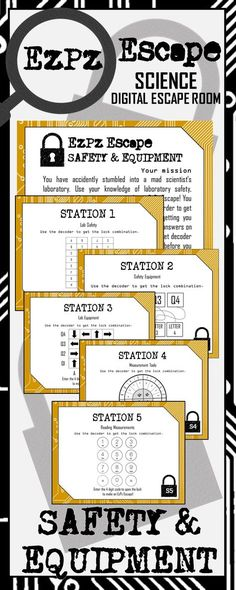Students will have a blast with this Safety, Equipment and Measurement Escape Room! Students will use their knowledge of laboratory safety and lab equipment to make an EzPz Escape! Students are required to answer station cards and use a decoder to get the Science Lessons, Science Activities, Life Science, Science Ideas, Science Labs, Biology Lessons, Ecosystem Activities, Science Stations, Science Resources