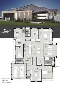 Small Modern House Plans One Floor. 20 Small Modern House Plans One Floor. Home Design with 4 Bedrooms Modern House Floor Plans, Bedroom House Plans, Dream House Plans, Modern House Design, Home Design Plans, Plan Design, Layout Design, Design Ideas, Home Layout Plans