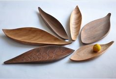 wood trays , leaf shaped