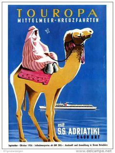 Original-Werbung/ Anzeige 1956 - 1/1 SEITE GROSSFORMAT - TOUROPA MITTELMEER - KREUZFAHRTEN - ca. 240 x 320 mm