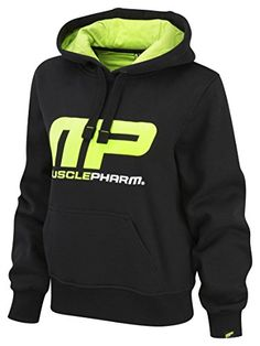 Musclepharm Women's Overhead Hooded Sweat Shirt - Black/Lime Green, Medium…