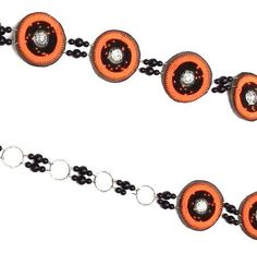 HANDMADE ORANGE LEATHER AND BEAD CHAIN BELTS, INCL SHIPPING