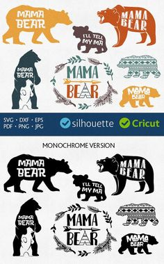 Mama bear svg files Baby Bear cut files for Cricut dxf Inkscape DIY craft files vector downloads Heat Press Transfer Vinyl Machine HTV