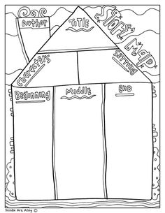 Fun printable, coloring Graphic Organizers at Classroom Doodles from Doodle Art Alley. Reading Intervention Activities, Reading Strategies, Reading Skills, Writing Activities, Reading Comprehension, Kindergarten Writing, Kids Writing, Teaching Writing, Literacy