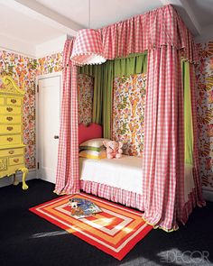 Adorable vintage-inspired room with pink gingham and lime green canopy bed, vintage patterned wallpaper, yellow painted dresser and black floor via Elle Decor Creative Kids Rooms, Cool Kids Rooms, Elle Decor, Girls Bedroom, Bedroom Decor, Dream Bedroom, Bedroom Ideas, Childrens Room, Bedroom Vintage