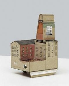 Manfred Pernice (born lives and works in Berlin. -- His sculptural works… Clay Houses, Ceramic Houses, Miniature Houses, Art Houses, Kitsch, Cardboard Model, Berlin, Model Maker, Everyday Objects