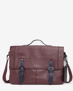 9b59c798c54923 Color block leather messenger bag - Oxblood