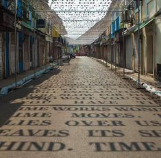 Sunlight Casts Shadows of Phrases Exploring Theories of Time in a Street Art Installation by DAKU - urban art - Street Installation, What Is Installation Art, Art Installations, Interactive Installation, Light Installation, Instalation Art, Colossal Art, Shadow Art, Rainbow Art