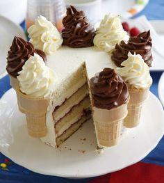 Ice Cream Cone Cake.  Love this!  Alternative recipe at Epicurious  - http://www.epicurious.com/recipes/food/views/Ice-Cream-Cone-Cake-239273