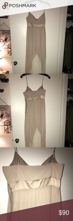 BCBG Formal Dress Only worn once and in great condition. This maxi dress is a cream color with pleated bottom. Pink white and tan are the colors seen towards the bottom. Very flattering and got many compliments when I wore it to my formal. BCBGMaxAzria Dresses Maxi