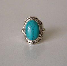 Un Silver92.5% Sterling Bague Turquoise argent bague/fait par Shlok