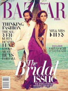 Saif Ali Khan and Kareena Kapoor Harpers Bazaar Shoot via IndianWeddingSite.com