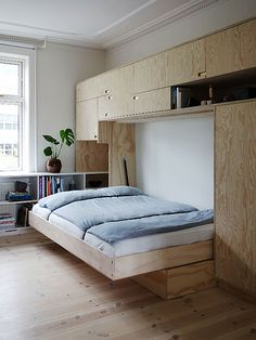 The wonderful design of a small space home small furniture and small house design, small home design, minimalist home design, apartment design Small Space Living, Small Rooms, Small Apartments, Small Spaces, Cama Murphy, Murphy Bed, Home Room Design, House Design, Plywood Interior