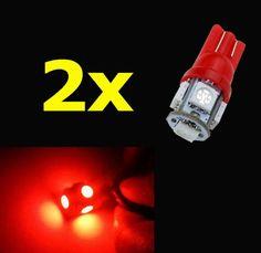 2 шт. лампочки светодиодные T10 5050 5-SMD красный