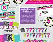 Fabulous Spa Sleepover - Hot Pink, Aqua & Zebra - Birthday Party Invitation (Digital File - Printed Cards Also Available). $18.00, via Etsy.