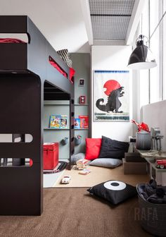 Boy room gray&black&red with bunk bed  from Rafa-kids