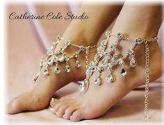 barefoot sandal - wedding barefoot sandal -wedding - diamante, rhinestones, foot jewelry by Catherine Cole Studio FREE SHIPPING!