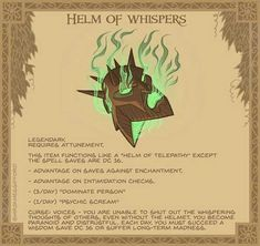 Helm of Whispers - Cold emerald flames envelop this wicked double-faced helm. Holding it you hear a cacophony of voices entreating you to wear it. Been replaying 's game and remembered how much I love the characters. Dungeons And Dragons Homebrew, D&d Dungeons And Dragons, Dnd Dragons, Dnd Characters, Fantasy Characters, Arte Peculiar, Arte Nerd, Tabletop Rpg, Tabletop Games