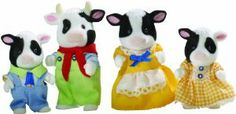 Sylvanian Families Friesian Cow Family by Flair. $20.92. Father Hornbull Buttercup loves walking through the fields and woods around Sylvania all alone. He likes the peace and quiet and gets all huffy and bad tempered if he is disturbed during his thoughtful strolls. Some children find him frightening! Mother Daisy Buttercup is very nosey, and likes to see and know what is going on. If she sees anyone out for a walk or off shopping, she will wander over to see what they a...