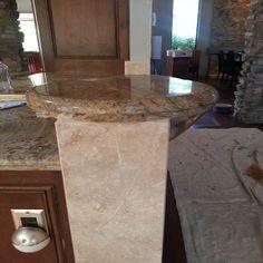 travertine and granite cap Tile Installation, Carpet Tiles, Travertine, Granite, Hardwood, Cap, Home Decor, Baseball Hat, Natural Wood