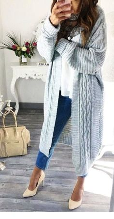 Grey Cardigan    White Top    Skinny Jeans Source cute outfits for girls  2017 6b75cde372