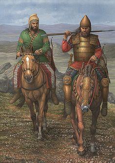 Jinetes escitas siglos VII y VI AC. A la izquierda jinete arquero ligero a la derecha jinete pesado. Autor Angel García Pinto