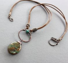 Copper and leather necklace with opal and turquoise, Rustic necklace, Gemstone necklace, Copper necklace, Statement necklace - Copper Necklace, Leather Necklace, Copper Jewelry, Leather Jewelry, Wire Jewelry, Beaded Jewelry, Handmade Jewelry, Jewelry Necklaces, Leaf Jewelry